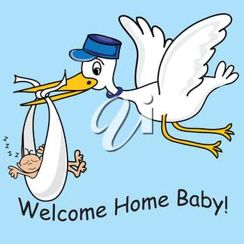 Clip Art Illustration of a Stork Delivering a Baby