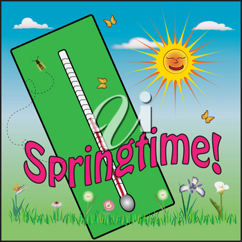 Clip Art Illustration of a Springtime Thermometer With a Happy Sun