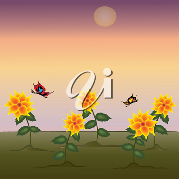 Clip Art Illustration of Flowers in a Field at Sunset