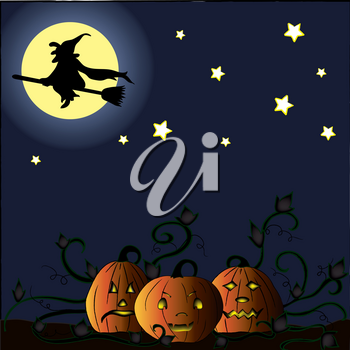 Clip Art Illustration of Jack-O-Lanterns in a Pumpkin Patch Under a Full Moon