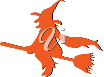 Clip Art Illustration of a Witch Flying on Her Broom Silhouette