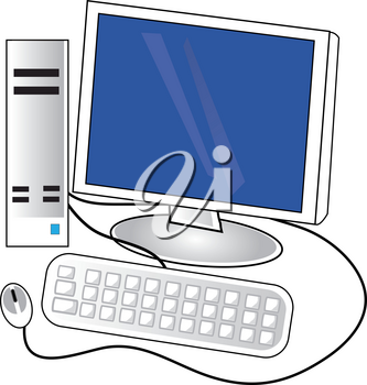 Clip Art Illustration of a Desktop Computer