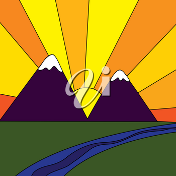 Clip Art Illustration of a Sunrise in the Mountains