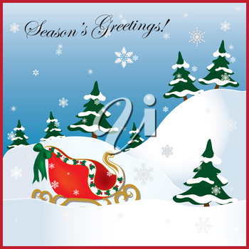Clip Art Illustration of a Christmas Sleigh in the Snow
