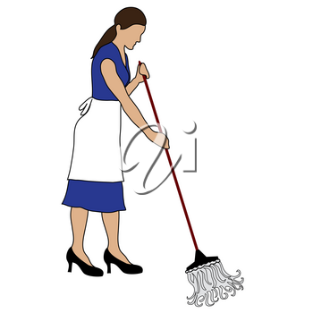 Clip Art Illustration of a Cleaning Woman Mopping a Floor Stock Photography