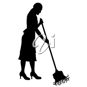 Clip Art Illustration of a Woman Mopping Silhouette Stock Photography