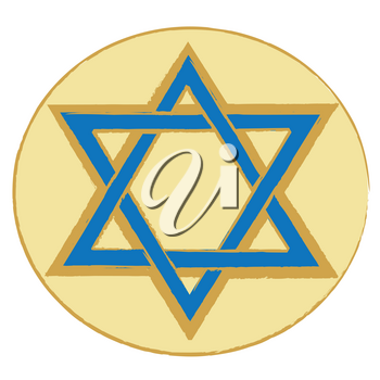Clip Art Illustration of a Blue and Gold Star of David