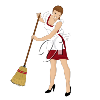 Clip Art Illustration of a Retro Maid Sweeping