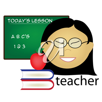 Clip Art Illustration of an Asian Female Teacher Occupation Icon