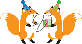 Clip Art Illustration Of A Couple Of Foxes Wearing Party Hats