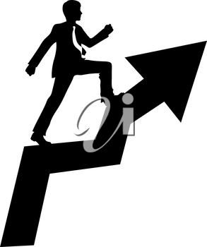 Clipart Image of Businessman Climbing the Ladder of Success