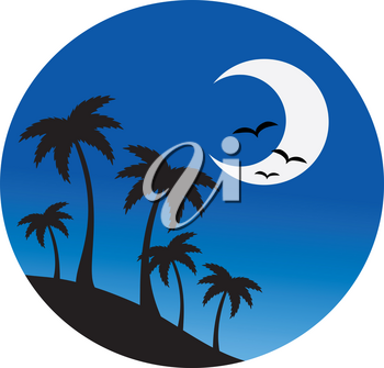 A Crescent Moon With Silhouetted Palm Trees at Night Time Clipart Image
