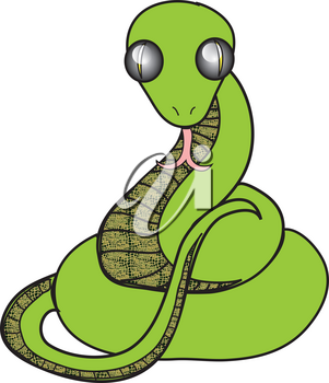 Clipart Illustration of a Coiled Green Snake with a Forked Tongue