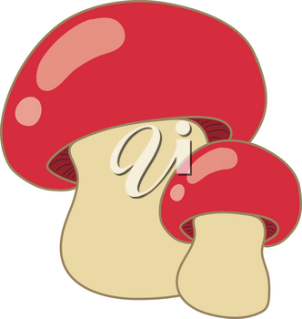 Clipart Illustration of Red Capped Mushrooms