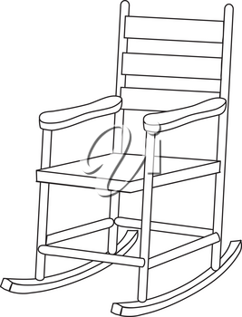 Royalty Free Clipart Illustration of a White Rocking Chair