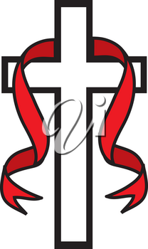 Royalty Free Clipart Illustration of a White Cross With a  Red Ribbon