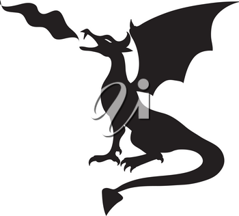 Royalty Free Clipart Illustration of a Fire Breathing Dragon