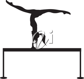 Clip Art Illustration of a Silhouette of a Gymnast on a Balance Beam