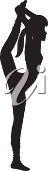 Clip Art Illustration of a Silhouette of a Gymnast Stretching