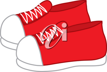 Clip Art Illustration of a Pair of Red Sneakers