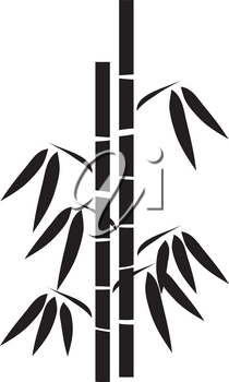 Clip Art Illustration Of A Silhouette Of A Stand Of Bamboo