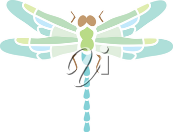 Clip Art Illustration Of A Blue And Green Dragonfly