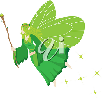Clip Art Illustration Of A Green Fairy Holding A Magical Staff