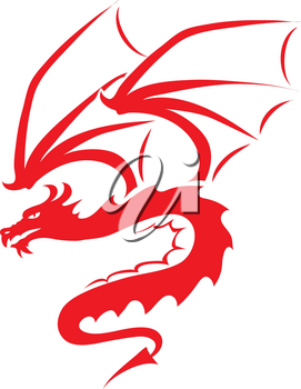 Clip Art Illustration Of The Silhouette Of A Dragon