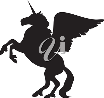 Clip Art Illustration Of The Silhouette Of A Unipeg