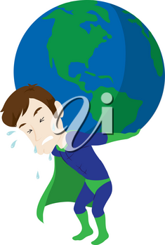 Clip Art Illustration Of A Superhero Holding The Earth On His Back