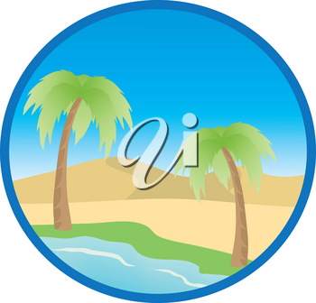 Clip Art Illustration Of A Desert Island With Palm Trees