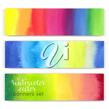 Watercolor hand painted banners set