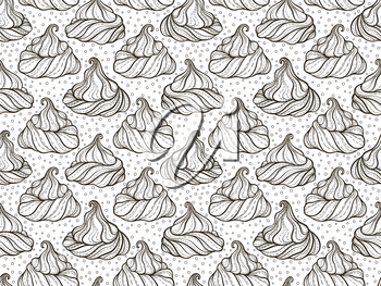 French meringue cookies seamless pattern. Doodle decorative hand drawn vector illustration