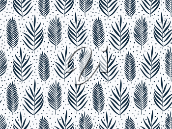 Hand drawn pattern with decorative palm leaves. Stylized colorful branches. Summer spring background, nature collection. Vector illustration