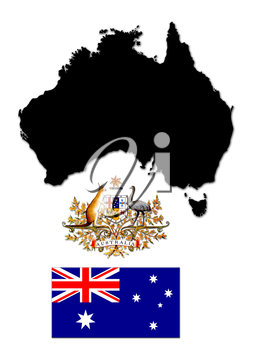 Black silhouette of the map and the herb with flag of Australia