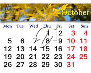 calendar for October of 2015 with the ribbon of yellow leaves
