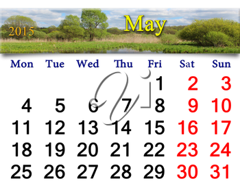 calendar for for May of 2015 on the background of spring landscape