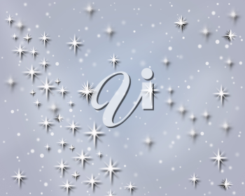 sky with snowflakes and stars for holiday card on the white background. Trendy New Year and Christmas celebratory card