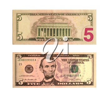 United States five-dollar bill isolated on the white background