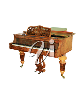 vintage piano isolated on the white background