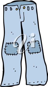 Royalty Free Clipart Image of a Pair of Patched Jeans