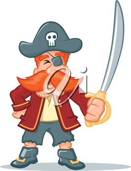 Illustration of a pirate character holing a sword