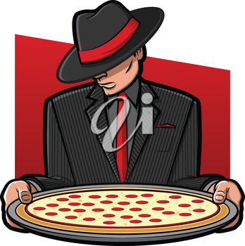 Illustration of a gangster holding a pizza pie