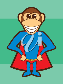 Cartoon Chimpanzee Super Hero