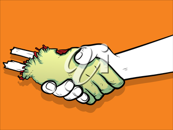 Illustration of a handshake betreen a human and a severed zombie hand