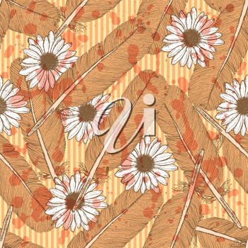 Sketch feather and daisy, vector vintage seamless pattern