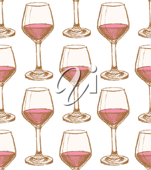 Sketch vine glass in vintage style, vector seamless pattern