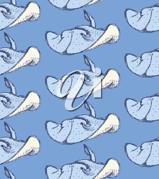 Sketch cute numbfish in vintage style, vector seamless pattern