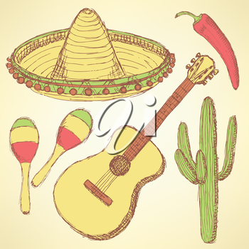 Sketch mexican set in vintage style, vector