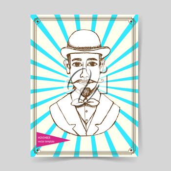 Sketch man in hat, vintage style, vector poster